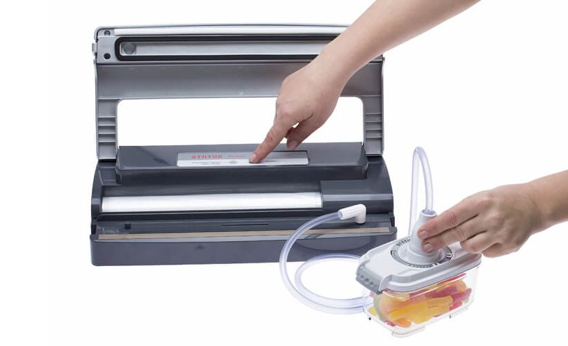 Vacuuming food container with vacuum sealer