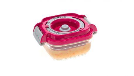 Statusova vakuumska posoda za otroško hrano z roza pokrovom.