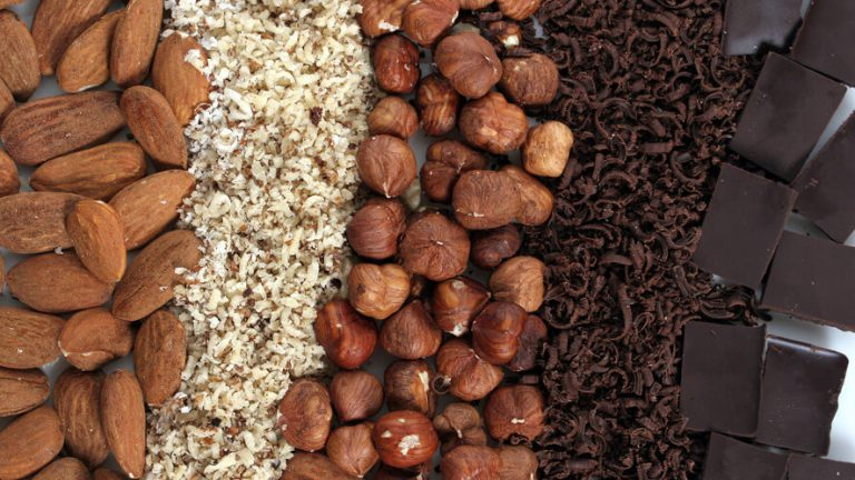 grated nuts and chocolate