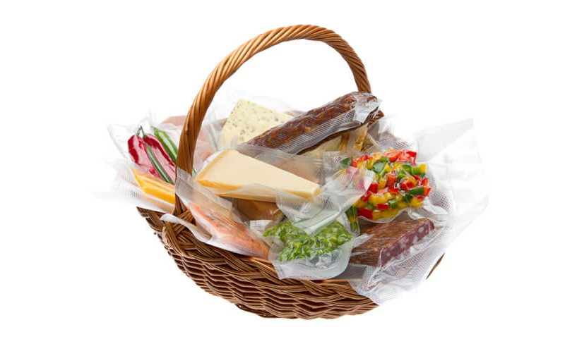 A basket of vacuum packed goods