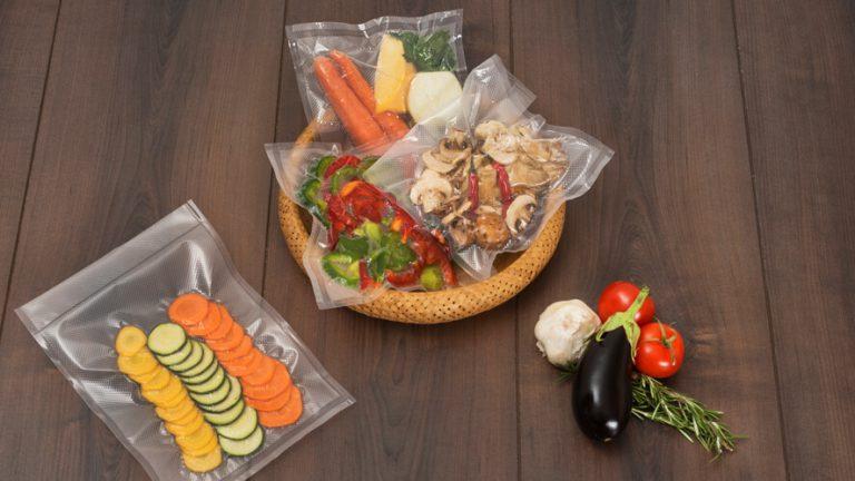 vacuum packed vegetable in vacuum foil roll