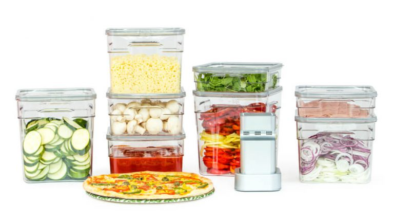 pizza ingredients in gastro vacuume food containers