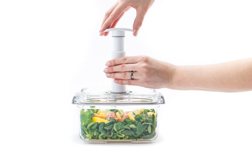 vacuuming food in a container
